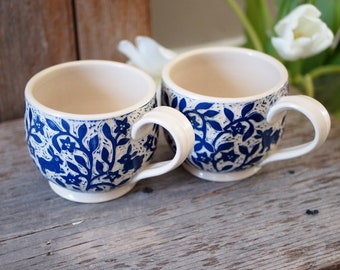 Two Cups with Bunnies, Handmade with Blue Hand Carved Flower Vines