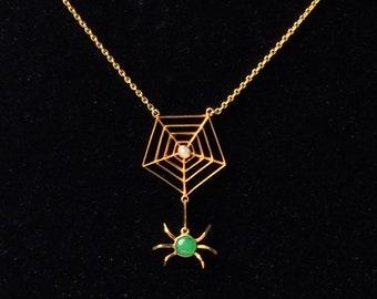 SALE! Vintage Art Deco Style Yellow Metal Lavaliere Pendant Necklace - Spider + Web Halloween