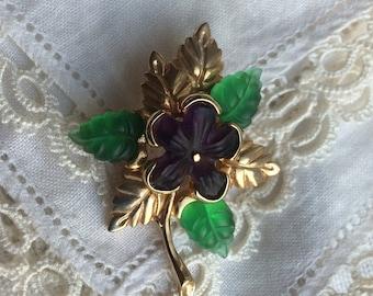 SALE! Vintage Austrian Moulded Glass Violet Brooch