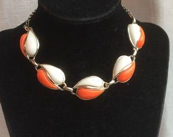 Beautiful Vintage Orange + Cream Lucite Link Necklace