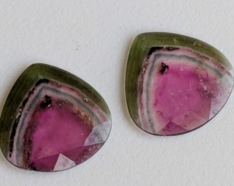 26.35 cts Watermellon tourmaline big size  polished slices set of 2 pieces set weight