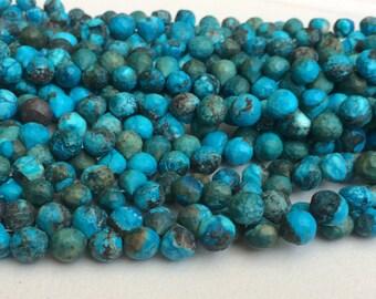 "Natural Pretty 5x8mm à facettes bleu aquamarine gemstone Collier 18/"""