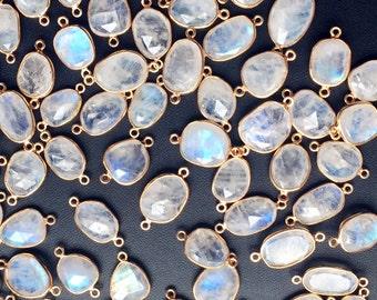 Fire Opal Quartz Oval 925 Sterling Silver Gold Vermeil Connector 5pc 17mm