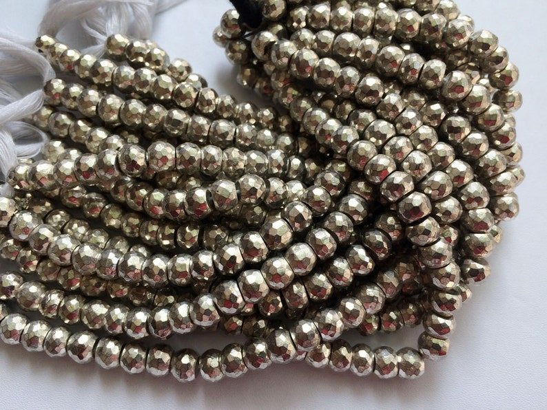 7.5mm Beads Pyrite Necklace Silver Pyrite Faceted Rondelles 35 Pcs 8 Inch Strand Silver Pyrite Beads Pyrite Wholesale