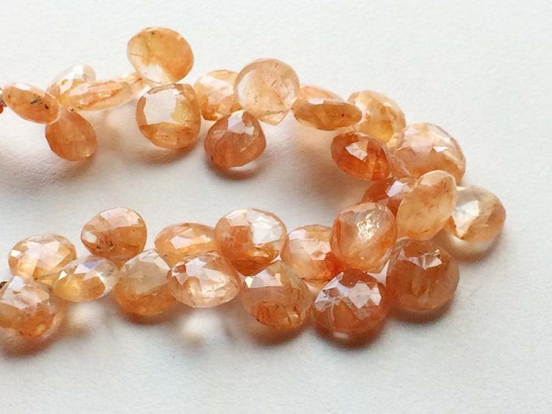 Graphic Quartz Beads Graphic Quartz Faceted Heart Beads Graphic Quartz Necklace Size 11-14mm 15 Pieces Orange Beads 4 Inch Strand