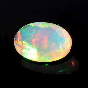 Fancy Emerald Cut Stone KS4158 Fire Opal 9.5x6.7mm Huge Ethiopian Opal Rectangle Faceted Opal Faceted Cabochon 1.20 Cts