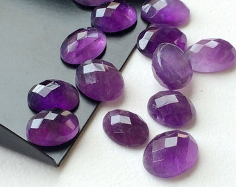 Amethyst Cabochon Lot, Oval Cut Faceted Calibrated Amethyst, 11x9mm Each 13 Pieces, 52.95 Carats, Beautiful African Amethyst