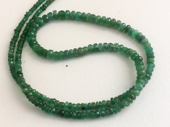 Natural Emerald Faceted Rondelle Gemstone Loose Beads 2.5-3.5mm 16 Strand