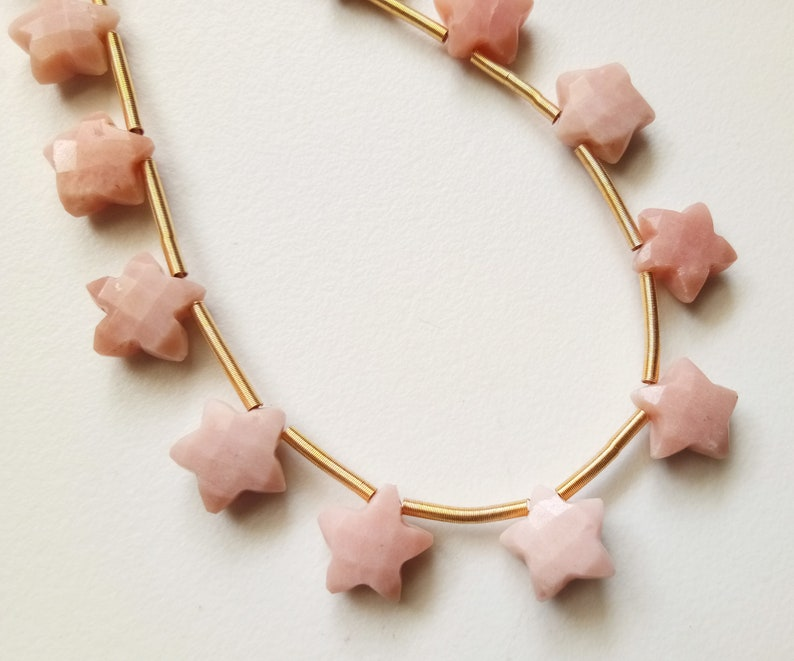 Pink Opal Star Shape Bead - ADG352 10mm 10.5mm Pink Opal Faceted Star Beads 4IN To 8IN Options Fancy Star Opal Briolettes For Jewelry