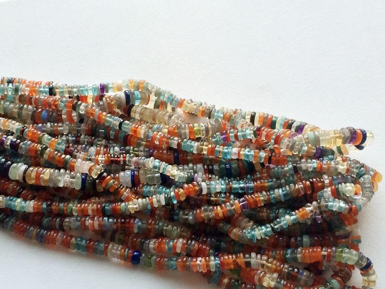 6-7mm Multi Gemstone Tyre Beads Multi Gemstone Necklace Multi Gemstone Spacer Beads 8 Inch Strand Disco Spacer Beads