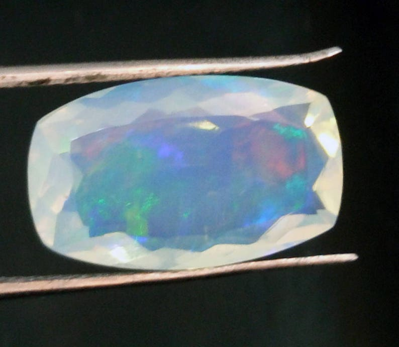 3.80 Cts Fire Opal Faceted Cabochon 9.5x15.7mm Huge Ethiopian Opal Rectangle Faceted Opal Fancy Emerald Cut Stone KS4157