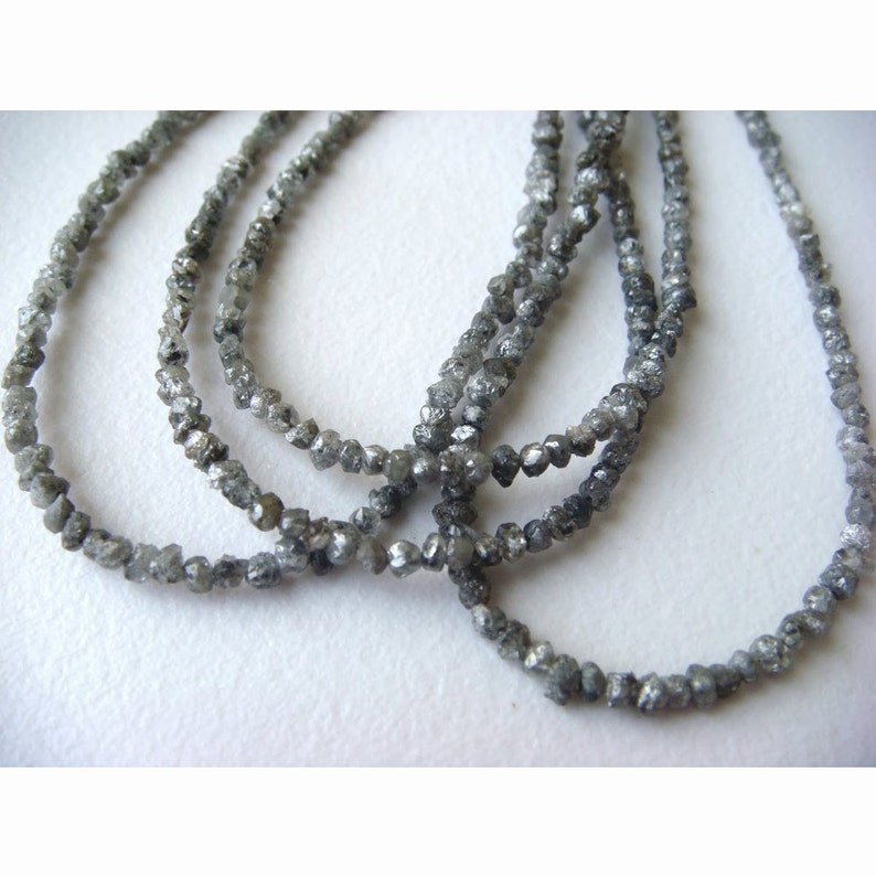 Raw Diamonds Conflict Free Diamond Rough Diamonds Natural Rondelle Beads 8 Inch Half Strand 1.5mm To 3mm Beads Grey Diamond Beads