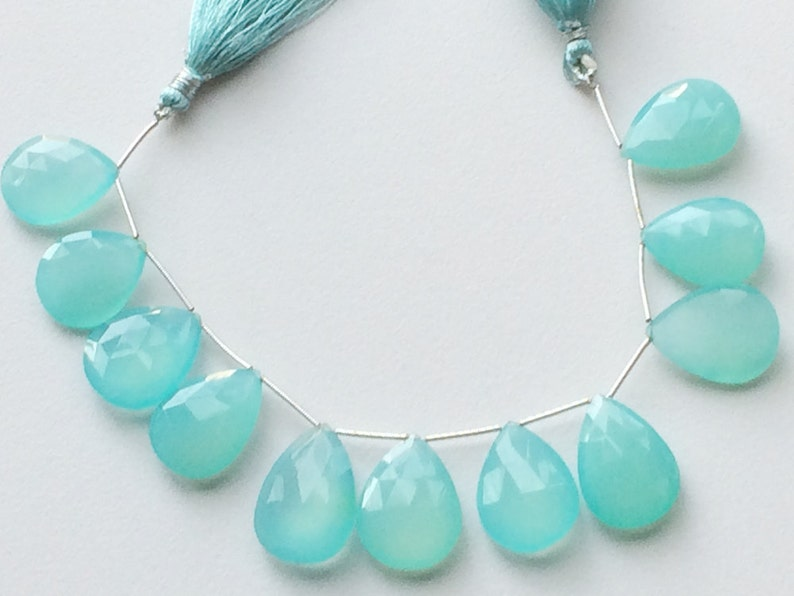 Dazzling Natural Aqua Chalcedony Smooth Heart Briolettes Gemstone 9X9X5 mm High Quality Aqua Chalcedony Heart Beads US-1756