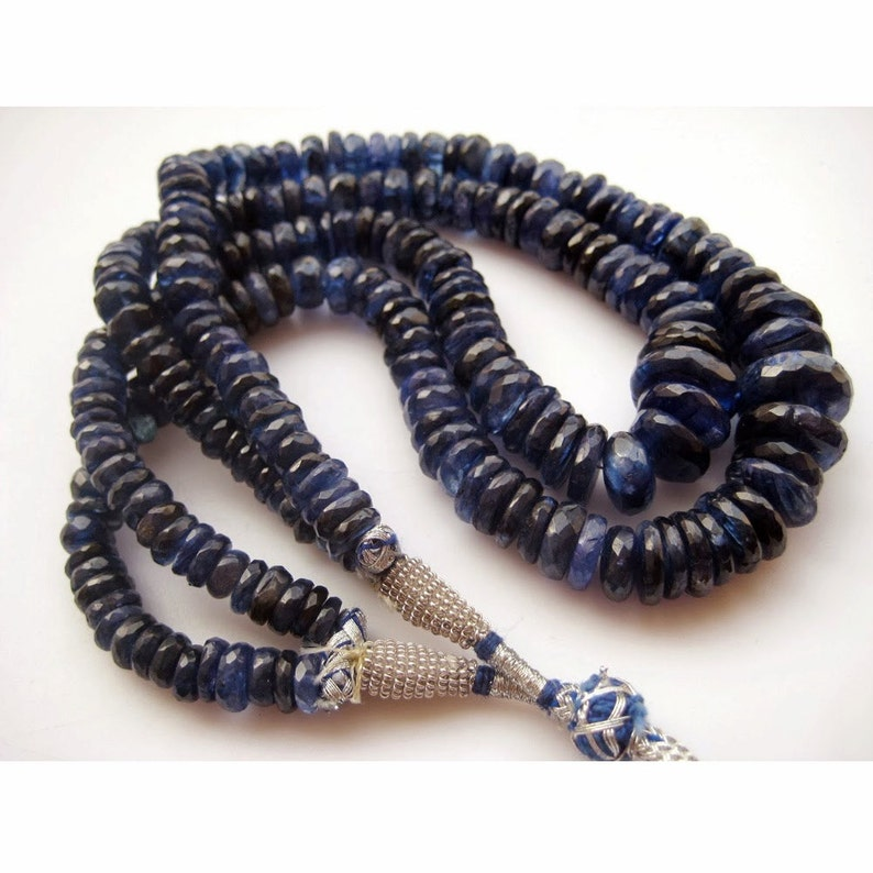 Faceted Kyanite Blue Kyanite 100 Pieces Approx Faceted Rondelle Beads 14 Inch Strand 20mm To 7mm Each Kyanite Beads