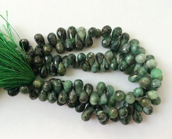 perles d meraude vert meraude facettes tear drops collier. Black Bedroom Furniture Sets. Home Design Ideas