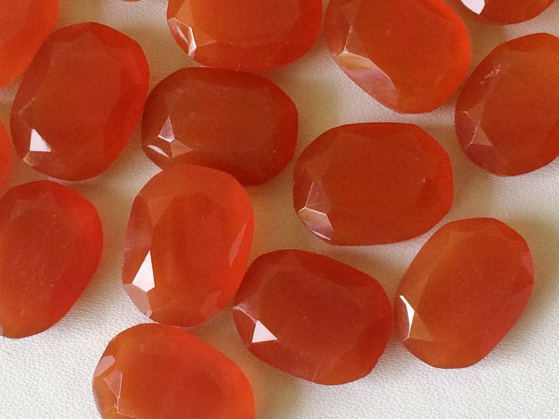 Red Chalcedony Table Cut Flat Back 12x16mm 5 Pcs Red Cabochons Red Gems Rose Cut Cabochons