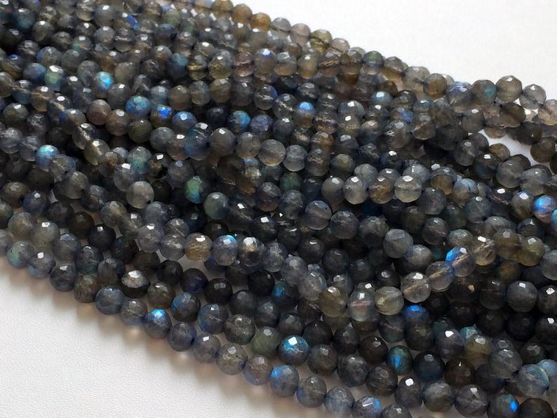 5 Inch Strand Labradorite Beads 20 Pieces Labradorite Faceted Round Balls Blue Fire Gemstone 6mm Beads