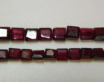 Garnet Beads, Chewing Gum Cut Garnet Beads, Faceted Garnet Beads, 6mm Beads, 13 Inch Strand