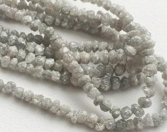 Grey Rough Diamonds, Natural Grey Raw Diamond Beads, Uncut Diamond Beads, Diamond Necklace 3-5mm, 3.5 Inches Strand
