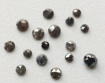 Grey Diamond, Grey Rose Cut Natural Diamond, Grey Rough Diamond, Grey Raw Diamond,  3mm To 4mm, 4 Pcs, 1 CTW