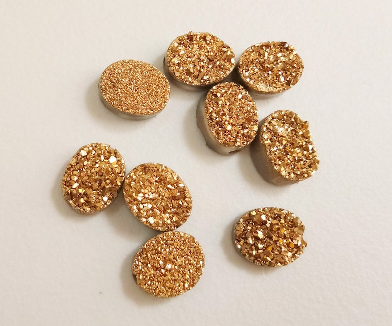 Half Top Drilled Titanium Gold Druzy 9 Pcs Matched Pairs Druzy For Jewelry PKD1 Druzy Beads Gold Oval Druzy 8x10mm Gold Druzy