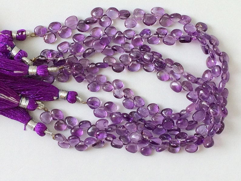 Amethyst Necklace WHOLESALE 5 Strands Amethyst Beads 8 Inch Strand 7mm Approx. Amethyst Plain Heart Shaped Briolette