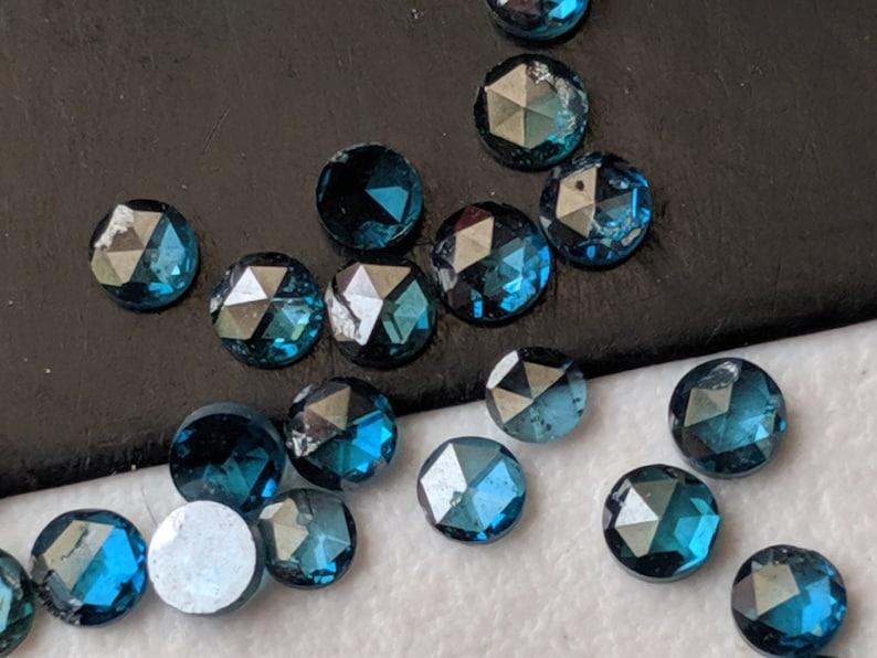 - PPD561 Blue Rose Cut Diamond For Jewelry 2Pcs To 8Pcs Blue Round Rose Cut Diamond Flat Back Diamond Cabochon 2-2.5mm Rose Cut Diamond