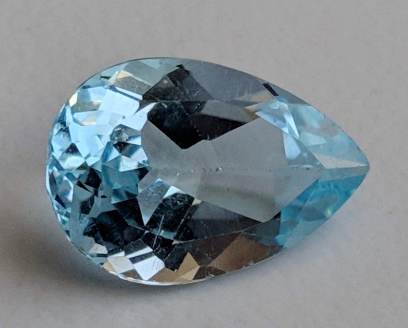 PNT21 Topaz Ring Size Blue Topaz Pear Cut Stone Loose Blue Topaz Pointed Back Stone 10x15mm Natural Blue Topaz Full Pear Cut Stone
