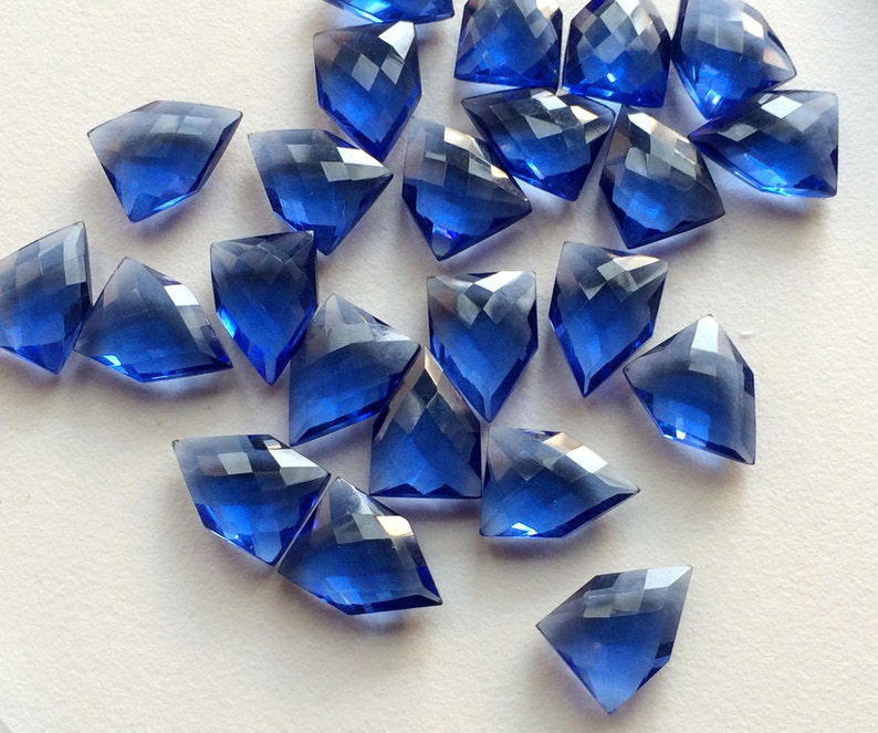 18mm Checker Cut Fancy Shape Hydro Blue WHOLESALE 10 Pcs Blue Hydro Quartz Blue Quartz Beads Double side Cut