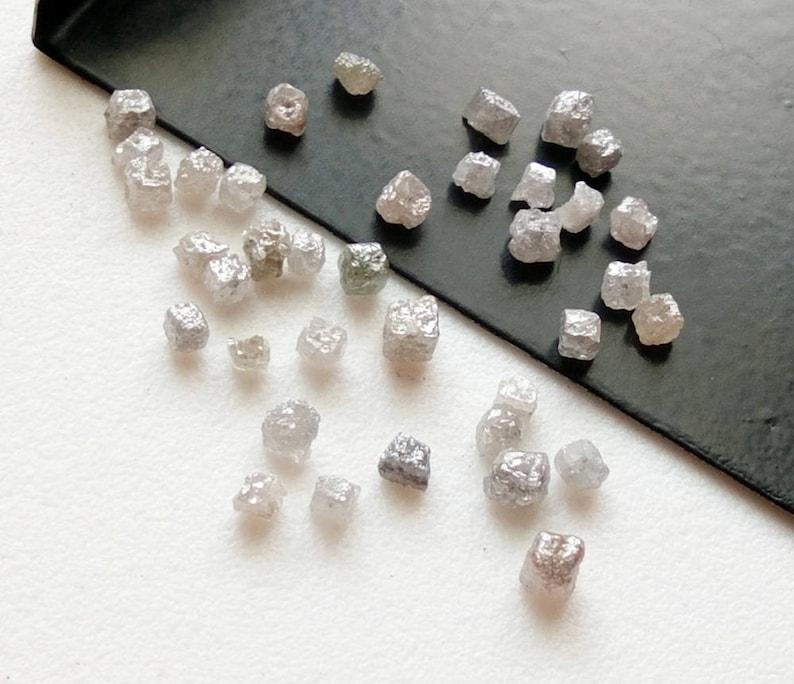 2-3mm Drilled Natural Pure White Diamonds Raw Uncut Diamonds WHOLESALE 10 Pcs White Grey Rough Diamond Cube Loose Diamonds DS4086