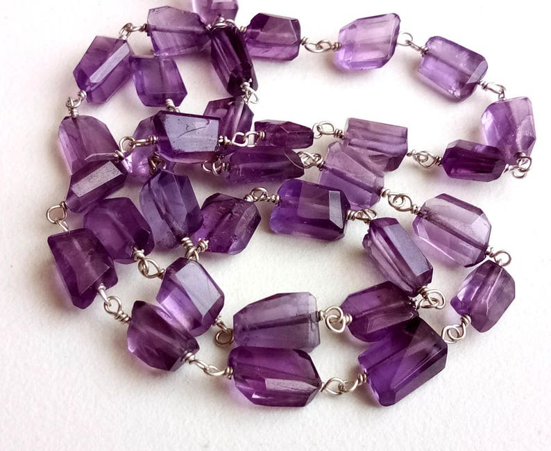 7-11mm Amethyst Rosary Chains Amethyst Faceted Step Cut Tumbles Connector Rosary Chains in 925 Silver Wire Wrapped By The Foot DVP57
