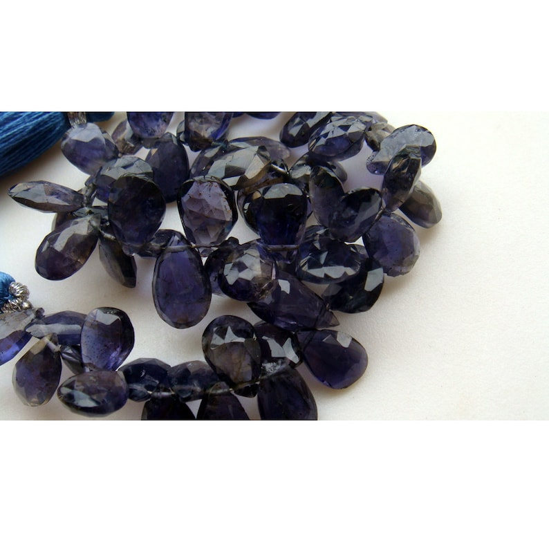 Iolite 14x11mm 4 inches 12x9mm Iolite Faceted Pear Shaped Drop Briolettes