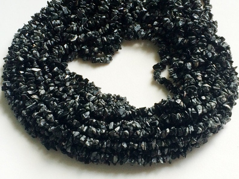 4-6mm Natural Black Obsidian Beads RAMA57 WHOLESALE 5 Strands Snowflake Obsidian Chips 32 Inch Snowflake Obsidian Beads