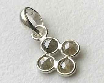 Grey Rose Cut Diamond Pendant, 925 Sterling Silver with 3mm Natural Grey Rose Cut Diamonds, Ready To Wear Diamond Pendant - PUSVD12