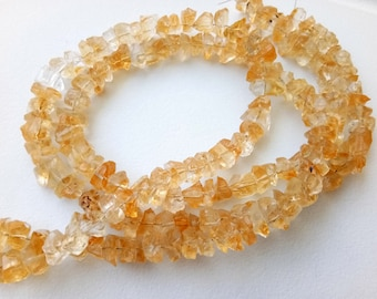 8-10.5mm Raw Citrine Stones, Natural Loose Raw Gemstone, Citrine Rough Beads, Citrine Rough Nuggets For Jewelry 13 Inches - DVP40