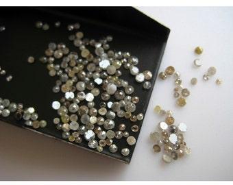Natural Diamond, Rose Cut Diamond, Rough Diamond, Raw Diamond, Uncut Diamond, 1mm To 2mm Each, 25 Pieces