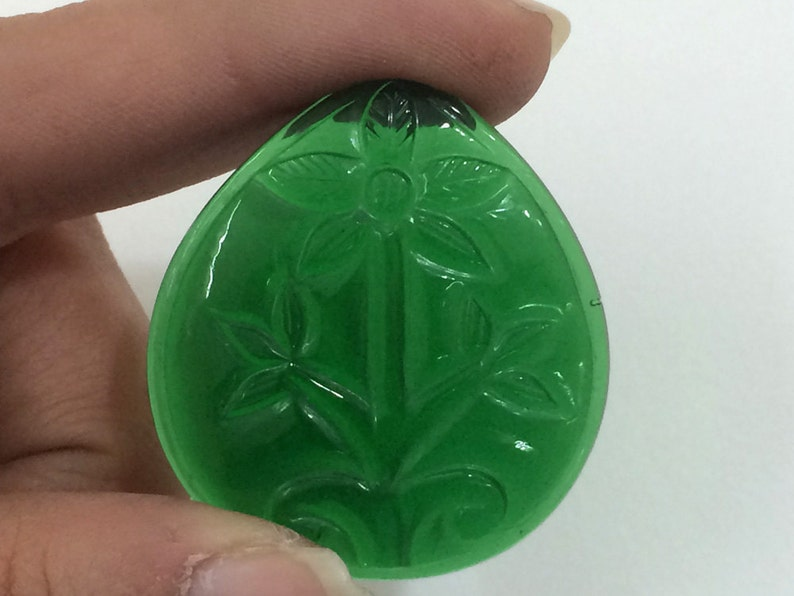 Stone Carving Hand Carved Focal Pendant Filigree Gemstone Mughal Carving Filigree Finding Green Glass Hand Carving