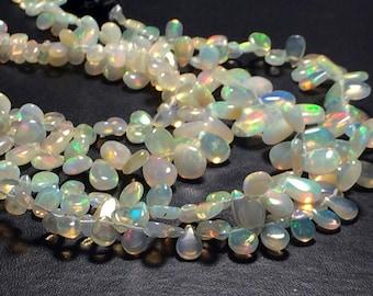3x5mm-6x8mm Ethiopian Welo Opal Plain Pear Shaped Briolettes, Opal Pear Beads, , Ethiopian Welo Opal For Jewelry (2IN To 8IN Option) - PDG18