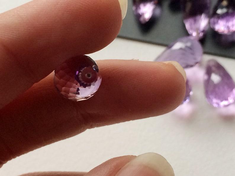 9x14mm Approx 5Pcs Half Top Drilled Drops Loose Callibrated Amethyst Drops Amethyst Micro Faceted Tear Drops Lot 40 Ctw
