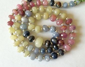 Multi Sapphire Beads, Sapphire Beads, Sapphire Faceted Rondelle Beads, Sapphire Necklace, Precious Sapphire, 7-11.5mm, 6 Inch Strand 19 Pcs