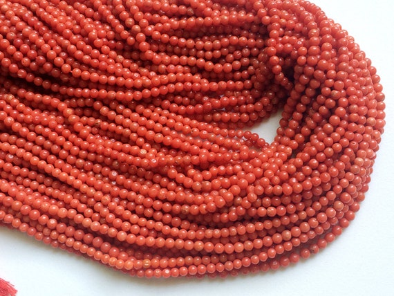 Original Natural Coral Cabochons - PGA401 2-3mm Italian Coral Round Flat Back Cabochons Italy Coral For Jewelry 1Ct To 10Ct Options