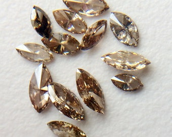 5 Pcs Cognac Marquise Shaped Faceted Diamond, 2x4mm - 3x6mm Natural Champagne Marquise Brilliant Cut Diamond, Marquise Ring - PUSPD35