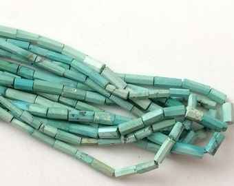 Arizona Turquoise Faceted Tube Beads, Natural Turquoise Tubes, Turquoise Necklace, 4x7mm - 7x16mm, 9 Pcs - KRS328