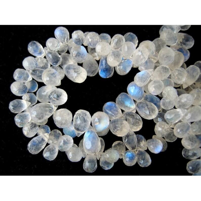 Rainbow Moonstone AAA Gems Tear Drop Beads Faceted Gemstones 5x8mm Each 40 Pieces 4 Inch Half Strand