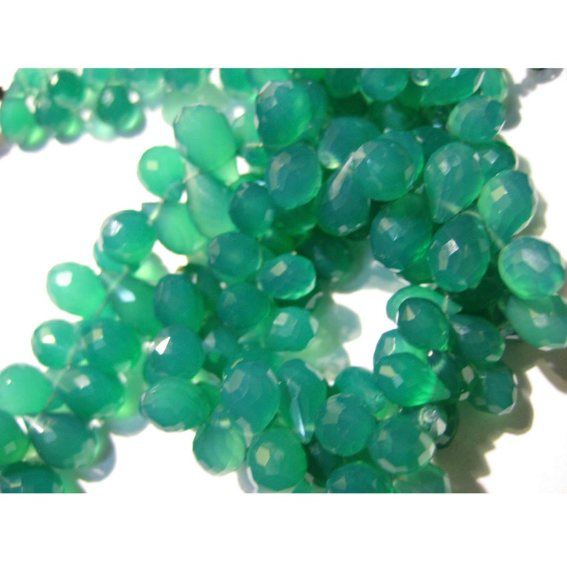 6x10mm Each 68 Pieces Approx 8 Inch Fu Green Onyx Briolettes Tear Drop Beads Faceted Briolettes