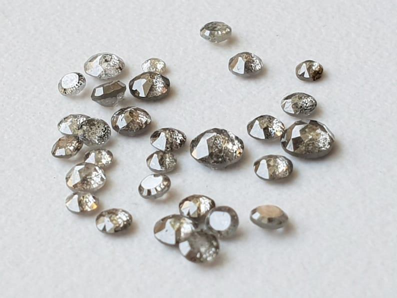 Loose Diamond 2-3mm Rare Natural Salt /& Pepper Tamboli Diamond Cabochon Rose Cut Ring-PPD19 5 Pcs Salt And Pepper Rose Cut Diamond