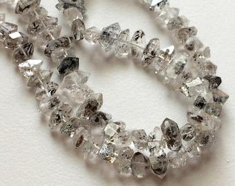 8-11mm Herkimer Diamond Quartz Beads, Raw Diamond Quartz Nuggets, Center Side Drilled Rough Diamond Quartz (4IN To 8IN Options) - AS5010