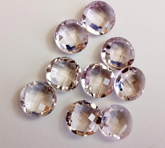 9 Pcs rose améthyste ronde Double face pierres à facettes, pierres 12mm ronde naturelle à facettes rose améthystes, lâches pierres facettes, améthyste roses - ANG113x 08f725