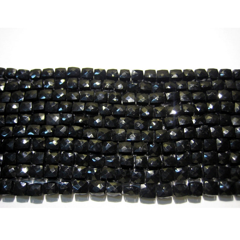 Black Spinel Gemstone Beads 6mm Bead Faceted Box Beads 10 Inch Strand Wholesale Price 35 Pieces