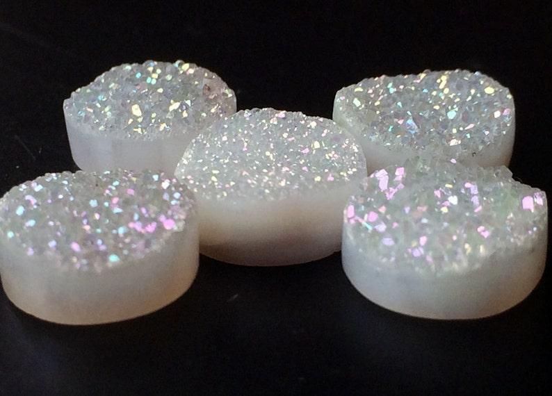 Druzy Studs White Round Druzy 10 Pieces White Druzy Druzy Cabochon Matched Pairs 10mm Beads Titanium White Druzy Druzy Jewelry